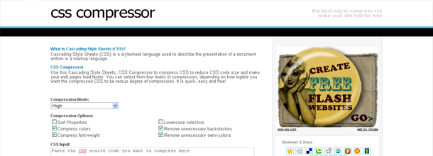 CSS Compressor - Online code compressor for Cascading Style Sheets